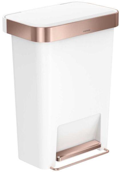 Simplehuman Pedálový odpadkový koš 45 l, obdélníkový, bílá/rosegold