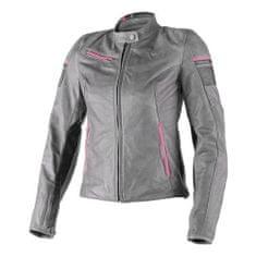Dainese dámská kožená bunda na motorku  MICHELLE LADY šedá/černá/růžová