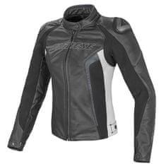 Dainese rACING D1 PELLE LADY dámská bunda na motorku, černá/bílá/antracitová, kůže