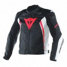 Dainese pánská moto bunda  AVRO D1 černá/bílá/fluo červená, kůže