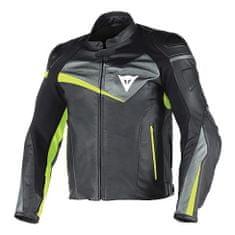 Dainese pánská kožená bunda na motorku  VELOSTER černá/antracit/fluo žlutá