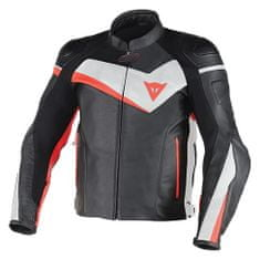 Dainese pánská kožená bunda na motorku  VELOSTER černá/bílá/fluo červená
