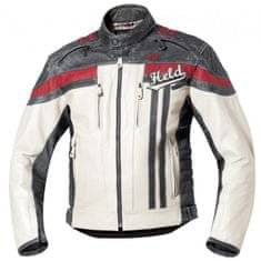Held pánská kožená moto bunda  HARVEY 76 bílá/černá/červená