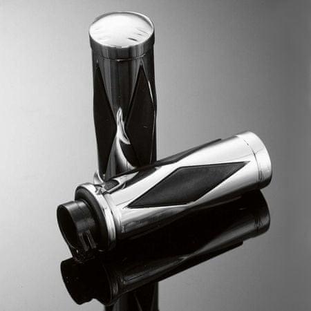 Highway-Hawk gripy 25mm  DIAMOND s uchytením laniek, leštený chróm/čierna (2ks)