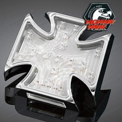 Highway-Hawk koncové moto světlo GOTHIC s LED, osvětlení SPZ, E-mark, chrom (1ks)