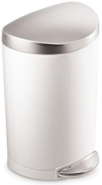 Simplehuman Pedálový odpadkový koš půlkulatý 10 l, bílý