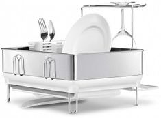 Simplehuman Odkapávač na nádobí, ocel/bílá - rozbaleno