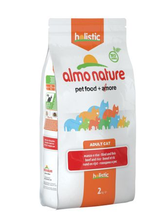 Almo Nature suha hrana za odrasle mačke Holistic - govedina z rižem 2kg