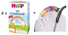 HiPP HA 2 Combiotic - 4×500g + látková plena + klips