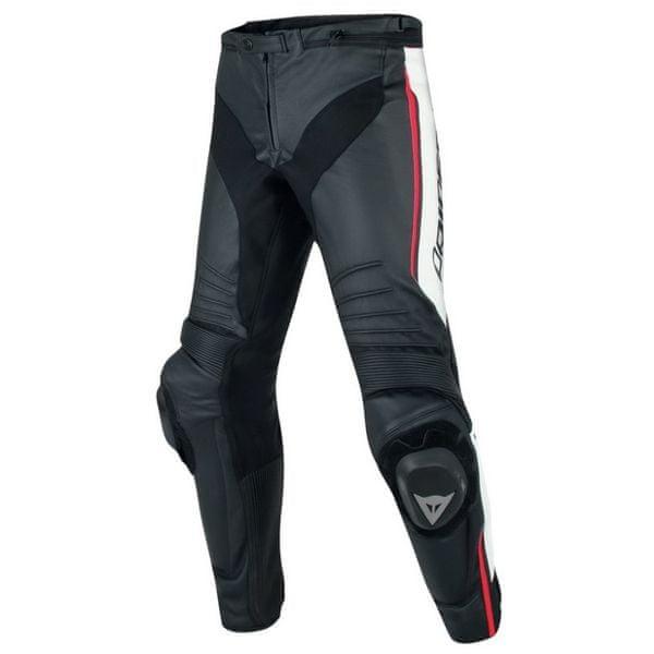 Dainese kalhoty MISANO vel.48 černá/bílá/fluo červená, kůže