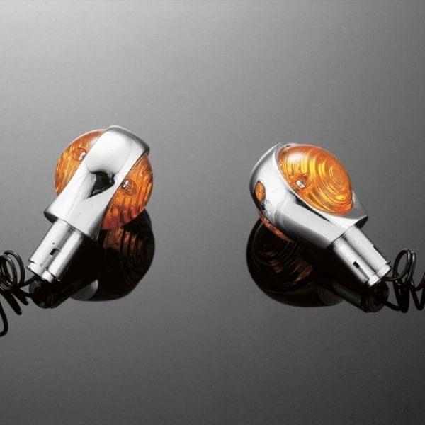 Highway-Hawk moto blinkry na řídítka 22mm 56mm, chrom (2ks)