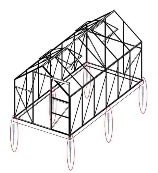 LanitPlast Sada 6 zemní vruty (modely 6x8, 6x10, 6x12, 4400 - 7500)