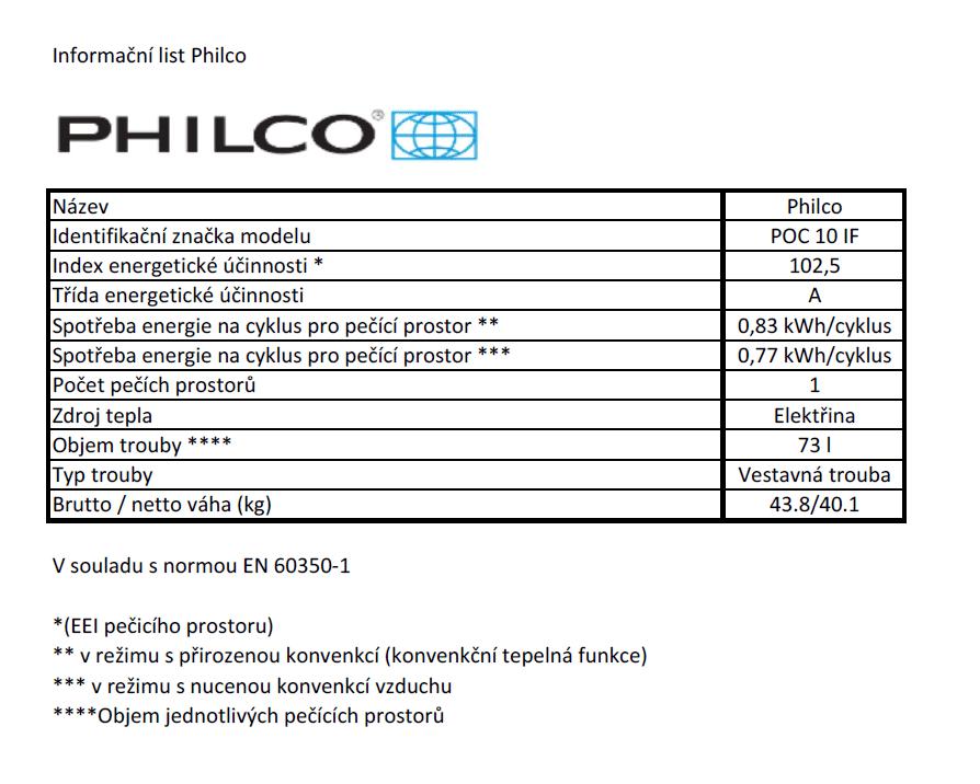 Philco POC 10 IF + bezplatný servis 36 měsíců