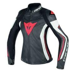 Dainese dámská kožená sportovní moto bunda ASSEN LADY černá/bílá/červená fluo