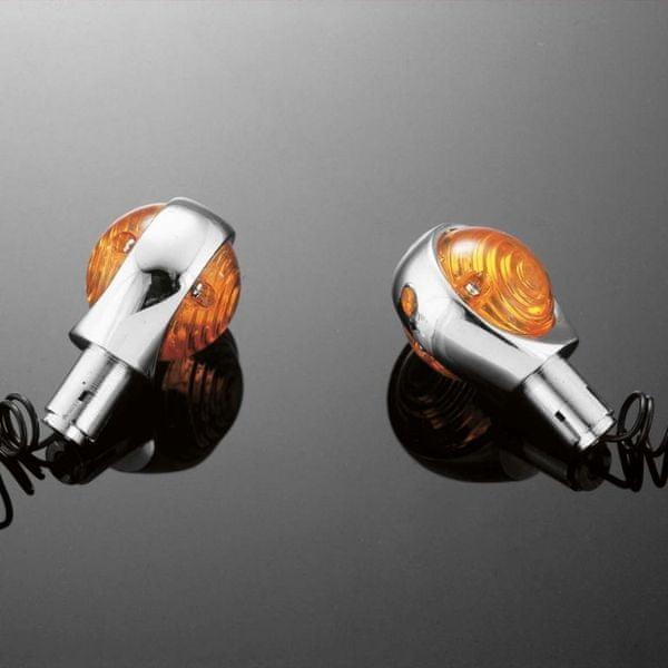 Highway-Hawk moto blinkry na řídítka 25mm 56mm, chrom (2ks)