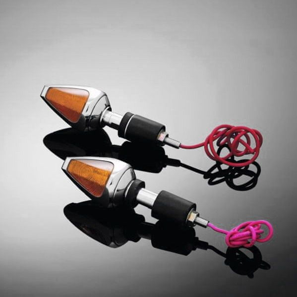 Highway-Hawk moto blinkry na řídítka 22/25mm DIAMOND, E-mark, chrom (2ks)