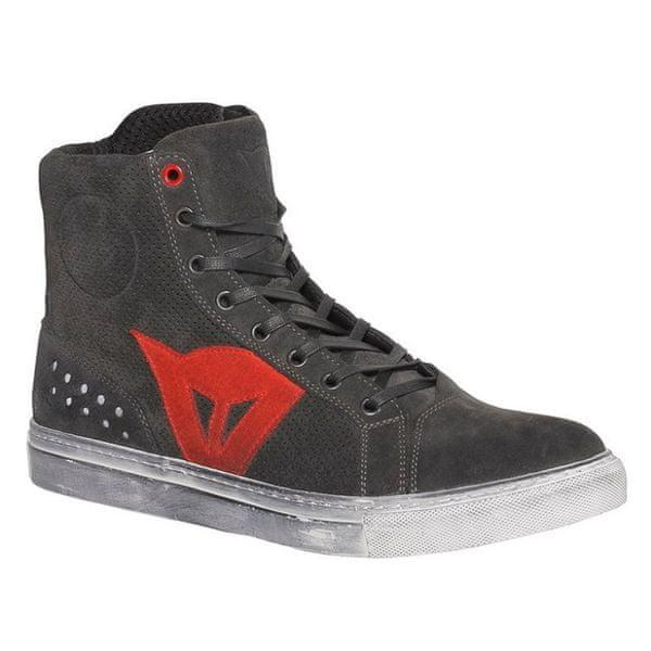 Dainese kotníkové boty STREET BIKER AIR vel.46 karbon/červená, kůže (pár)