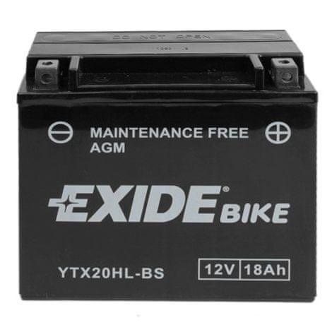 Exide bezúdržbová AGM baterie YTX20HL-BS, 12V 18Ah, za sucha nabitá. Náplň součástí balení.