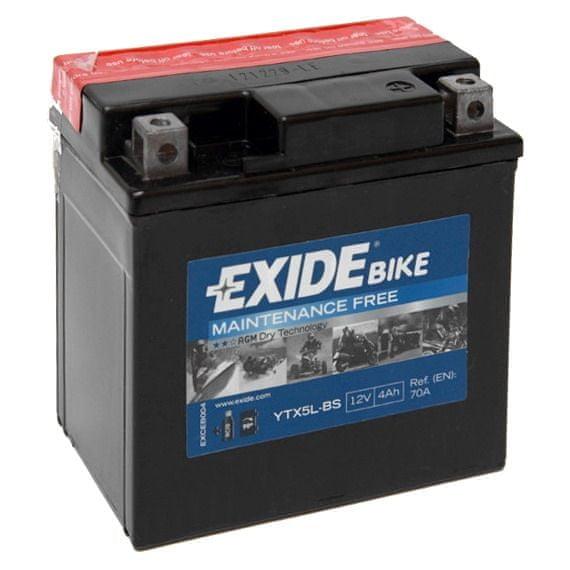 Exide bezúdržbová AGM baterie YTX5L-BS, 12V 4Ah, za sucha nabitá. Náplň součástí balení.
