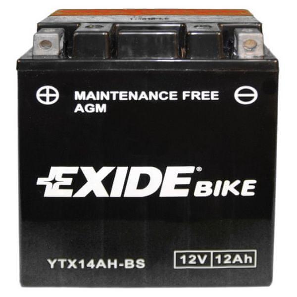 Exide bezúdržbová AGM baterie YTX14AH-BS, 12V 12Ah, za sucha nabitá. Náplň součástí balení.