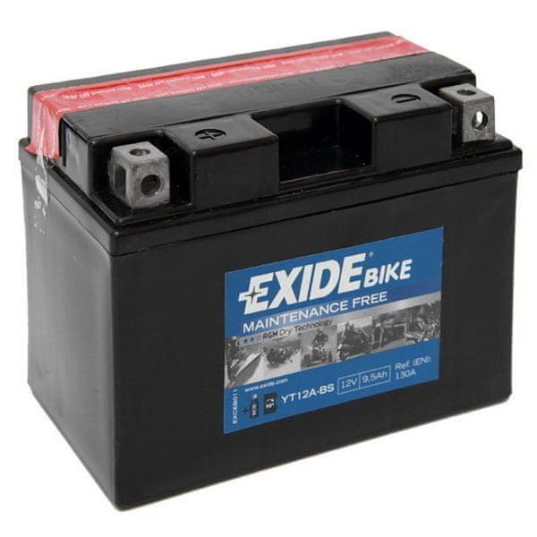 Exide bezúdržbová AGM baterie YT12A-BS, 12V 9,5Ah, za sucha nabitá. Náplň součástí balení.