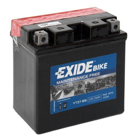 Exide bezúdržbová AGM baterie YTZ7-BS, 12V 6Ah, za sucha nabitá. Náplň součástí balení.
