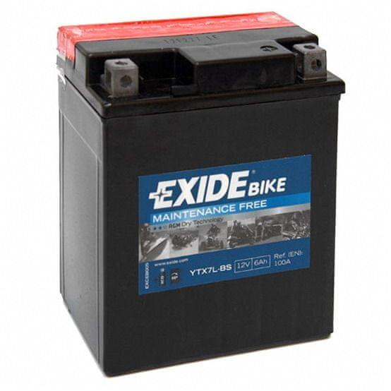 Exide bezúdržbová AGM baterie YTX7L-BS, 12V 6Ah, za sucha nabitá. Náplň součástí balení.