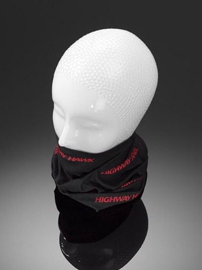 Highway-Hawk šátek, černý s červeným potiskem