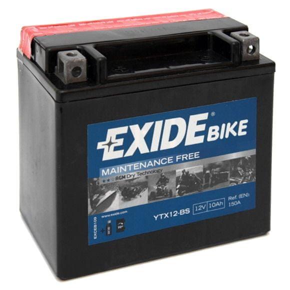 Exide bezúdržbová AGM baterie YTX12-BS, 12V 10Ah, za sucha nabitá. Náplň součástí balení.