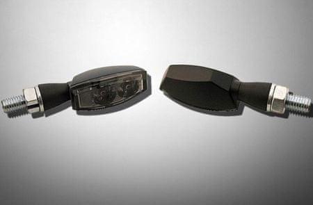 Highway-Hawk moto blinkre  MINI s LED, E-mark, dymové, čierne (2ks)