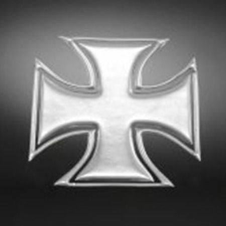 Highway-Hawk samolepiace 3D emblém  GOTHIC CROSS (kríž), chróm (2ks)
