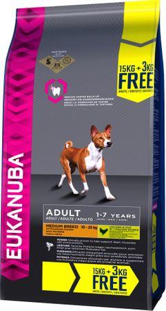 Eukanuba suha hrana za odrasle pse Adult Medium Breed 15 kg + 3 kg gratis