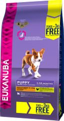 Eukanuba suha hrana za štence Puppy & Junior Medium Breed 15 kg + 3 kg gratis