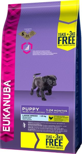Eukanuba Puppy & Junior Large Breed 15 kg + 3 kg Zdarma