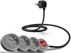 Connect IT Predlžovací kábel (3 zásuvky; 1,5 m), šedá