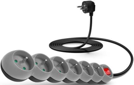 Connect IT listwa zasilająca (6 gniazdo; 3 m), szary