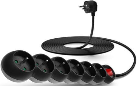 Connect IT Predlžovací kábel (6 zásuviek; 5 m), čierna