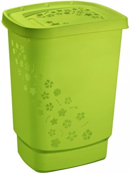 Rotho Koš na špinavé prádlo Flowers 55 l, zelená