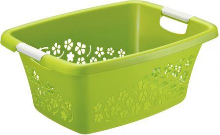 Rotho Koš na čisté prádlo Flowers 25 l, zelená
