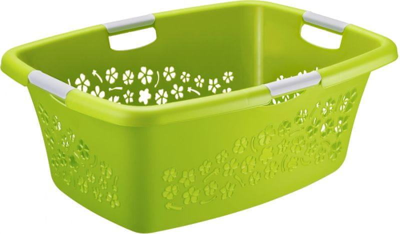 Rotho Koš na čisté prádlo Flowers 50 l, zelená