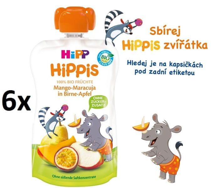 HiPP BIO 100% ovoce Hruška-Jablko-Mango-Marakuje 6 x 100 g