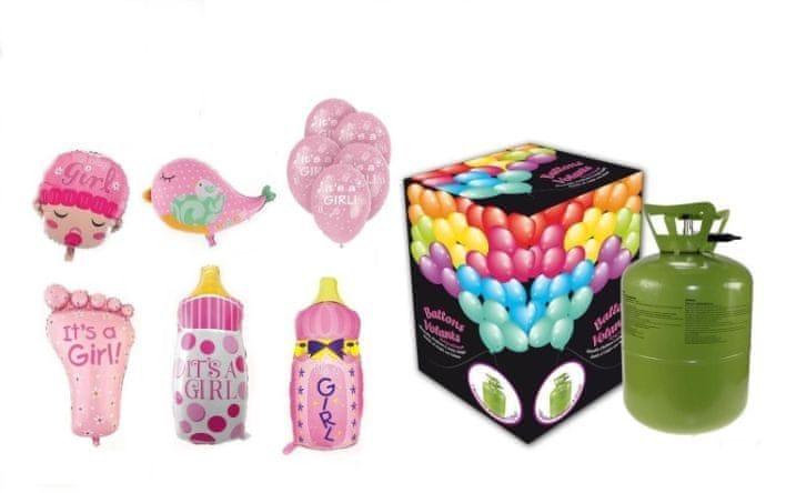 Helium sada na oslavu NAROZENÍ HOLČIČKY + 10 latexových a fóliových balónků