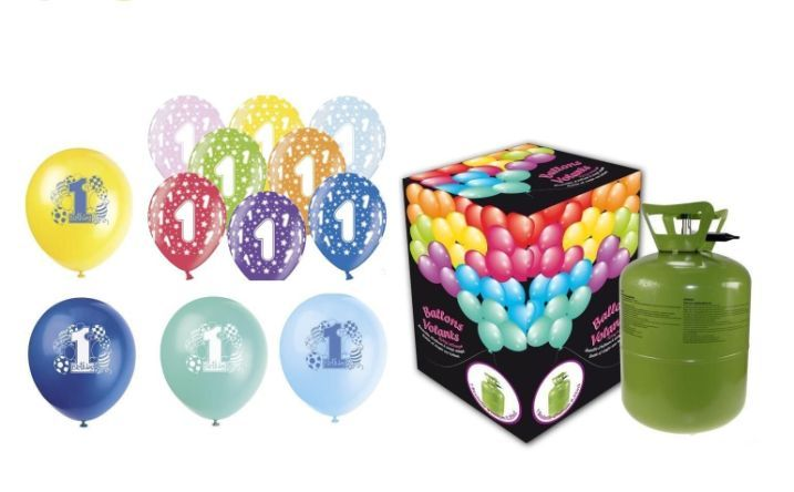Helium sada na 1.NAROZENINY MALÁ OSLAVA KLUK + 13 latexových balónků