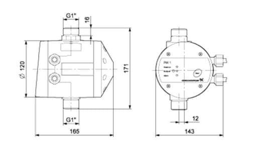 Grundfos protočno/tlačni prekidač PM 1