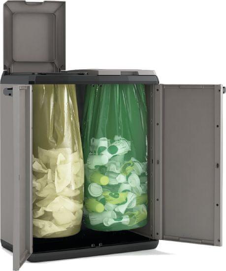 Kis ločevalni koš za smeti Basic, za dve vreči, 2 x 110 l
