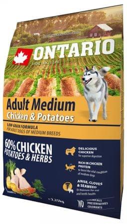 Ontario Adult Medium Chicken & Potatoes Száraz kutyatáp, 2,25kg
