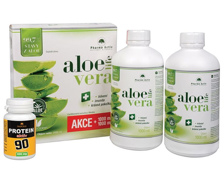 Pharma Activ AloeVeraLife 1+1 ZDARMA (1000 ml + 1000 ml) + Protein aktiv 90 tbl. ZDARMA