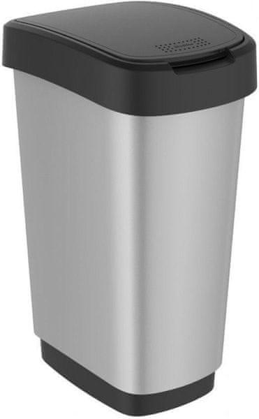 Rotho Odpadkový koš Twist 50 l, silver