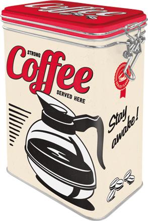 Postershop Blaszany pojemnik z klipsem Strong Coffee Served Here