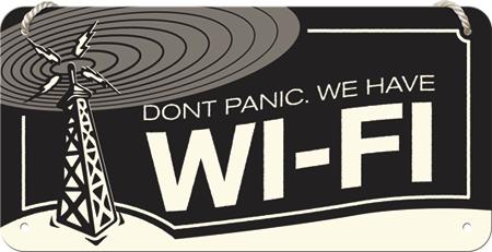 Postershop okrasna tabla Don't Panic We Have Wi-Fi